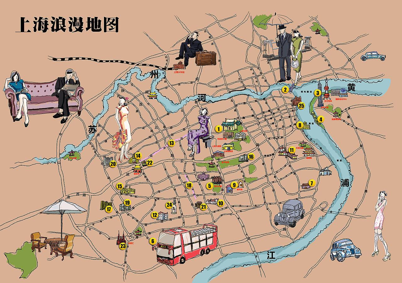 手绘上海地图