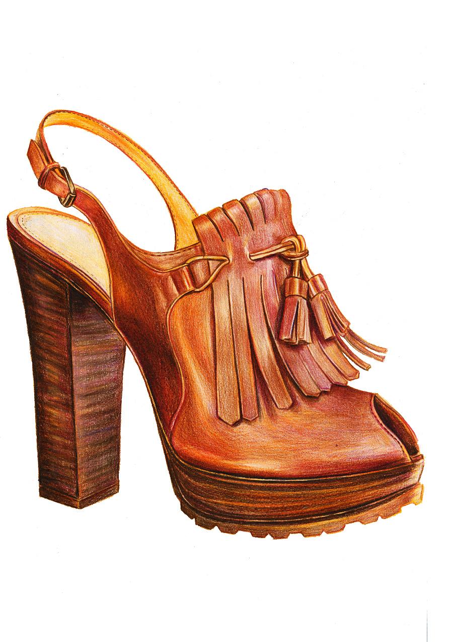 鞋子彩铅手绘图