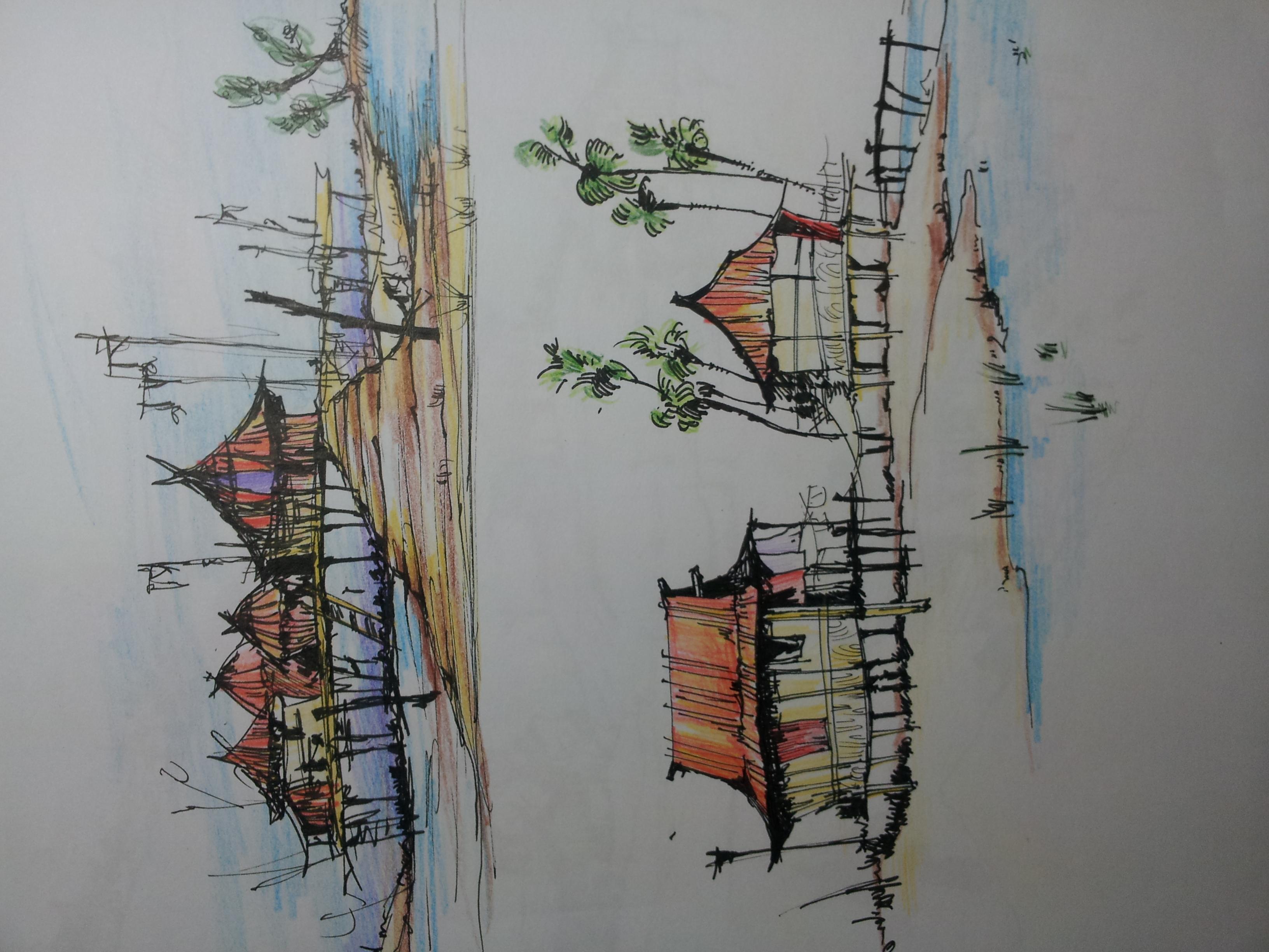 建筑,风景手绘 插画 插画习作 kalonlucky - 原创作品