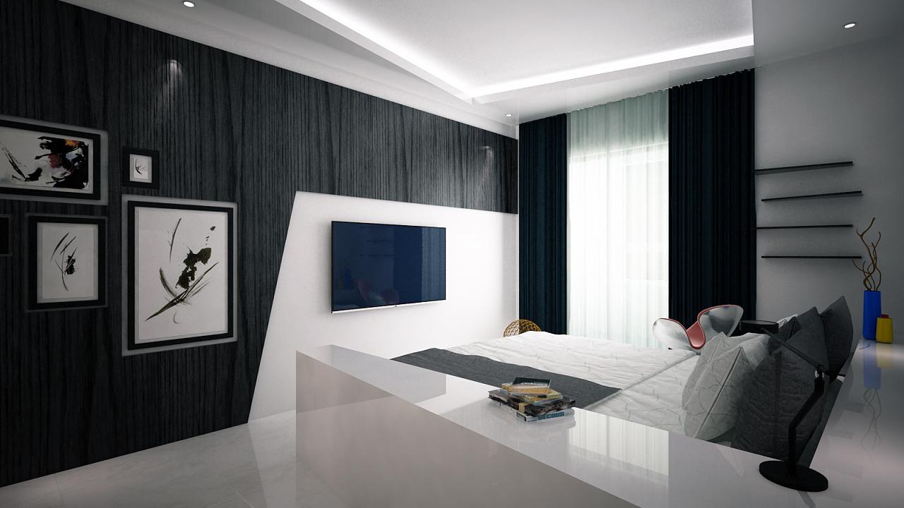 简约黑白风格室内设计【附cad,3dsmax,ps排版,效果图】