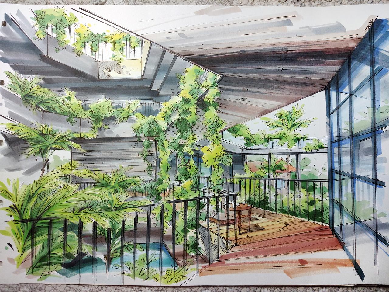 马克笔手绘 - 康沃尔花园住宅