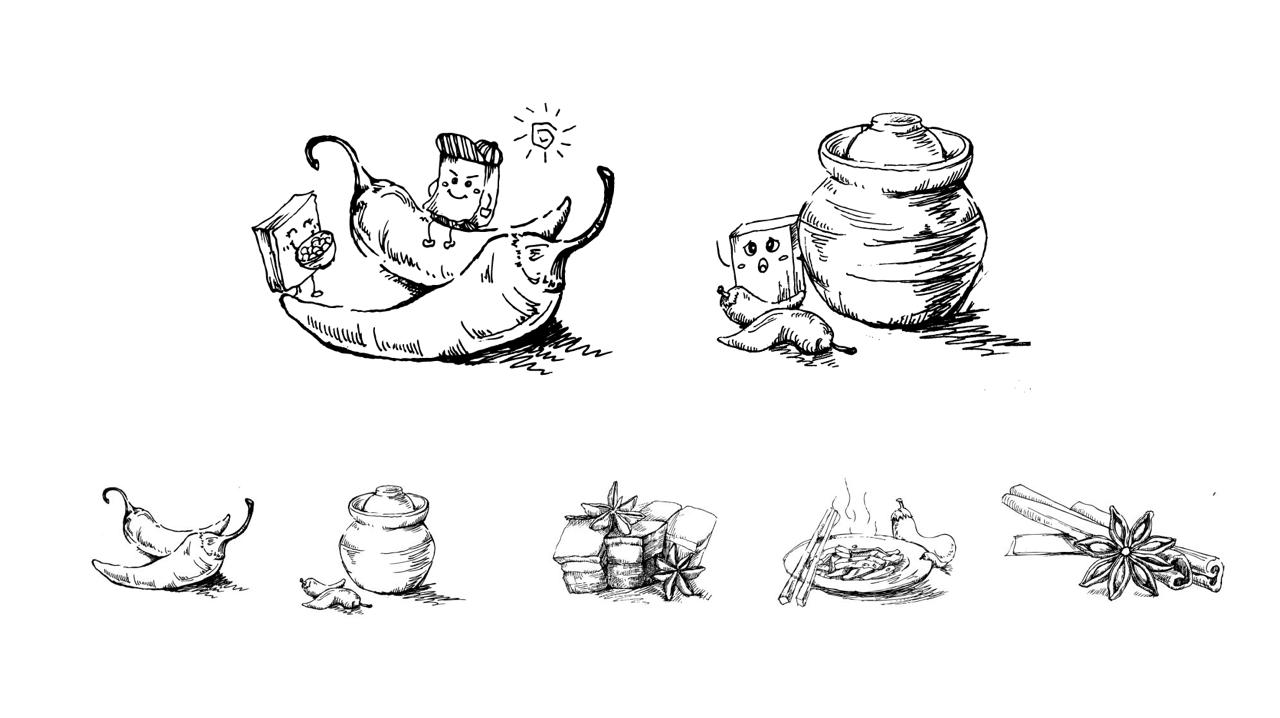 豆干用手绘原材的方式表现口味,加以豆干卡通形象,生动活泼,符合休闲