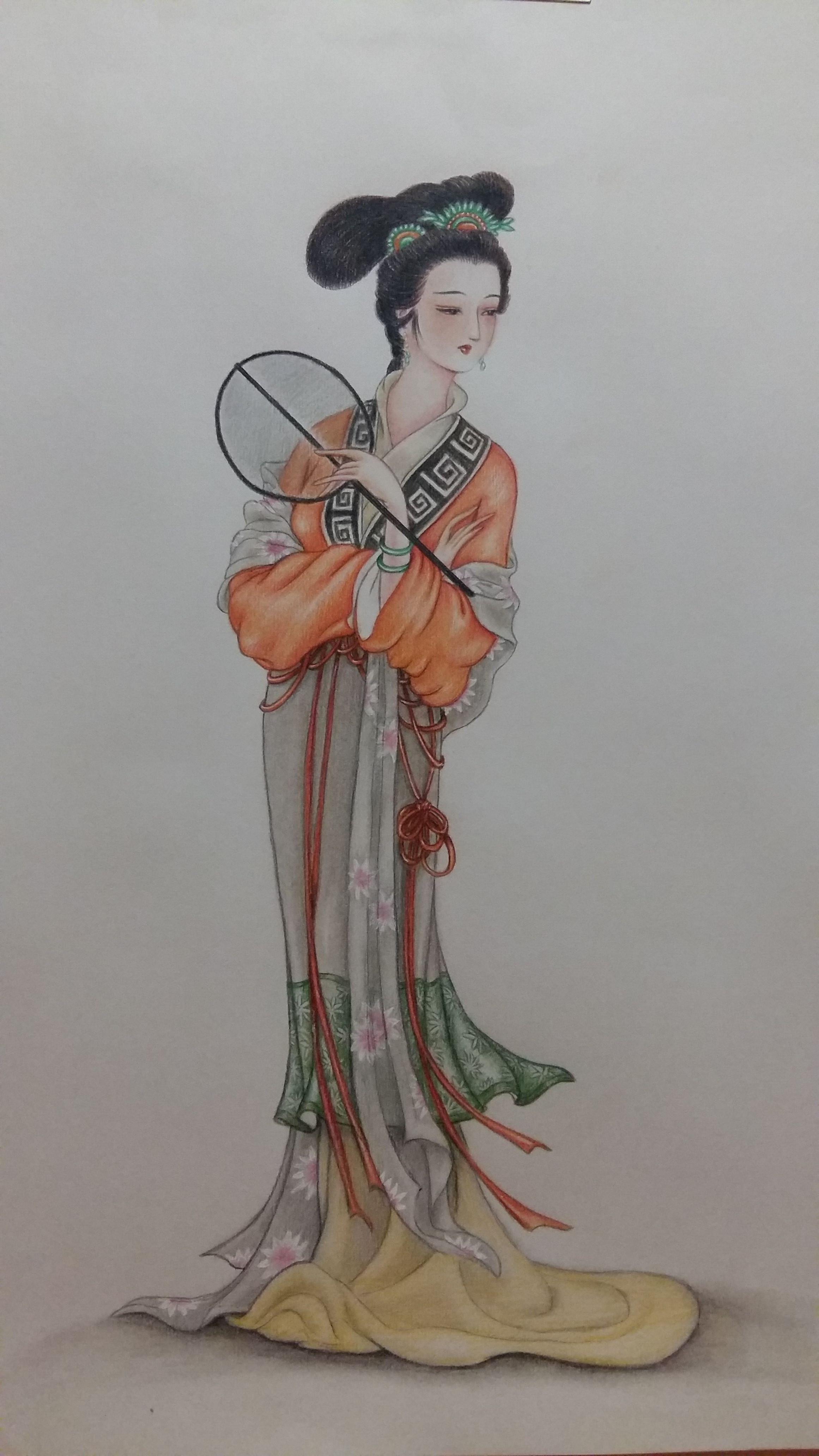 彩铅手绘仕女