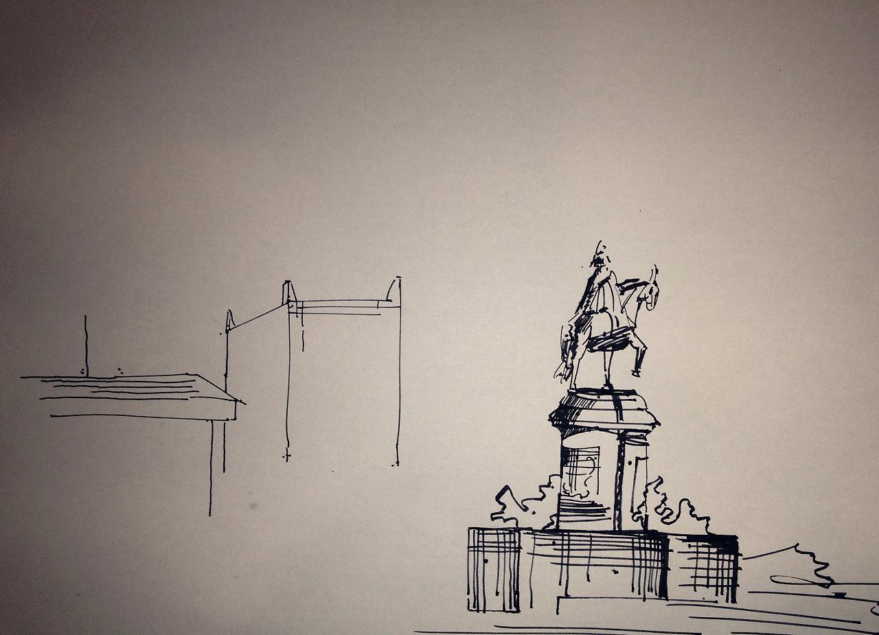手绘小稿|空间|建筑设计|昨日西风依旧 - 原创作品