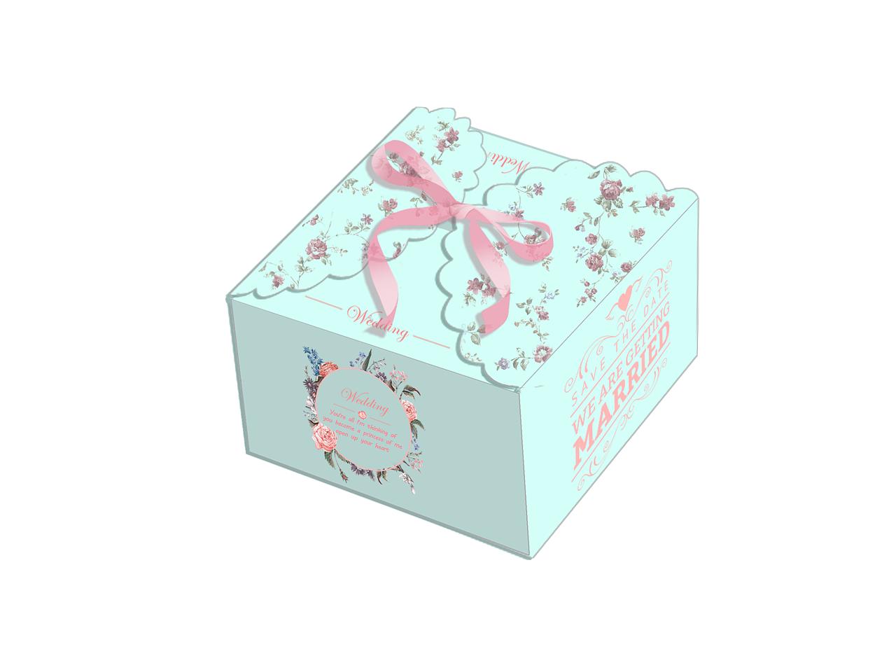 做了两款婚礼的喜糖盒包装,都是偏向于欧式风格的,采用的是浅蓝色,由花、英文字样、艺术英文字wedding、镂空的心形、碎花元素以及缎带组合而成。整个包装看起来比较清新,缎带的添加起到了点缀及方便携带的作用,镂空的心形可以看到盒内的部分内容,可作为婚礼的浪漫装饰,精致唯美。