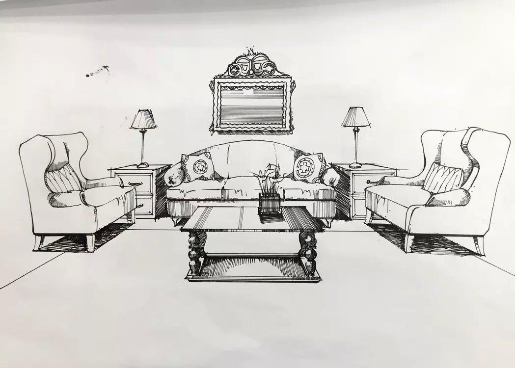 沙发组合线稿