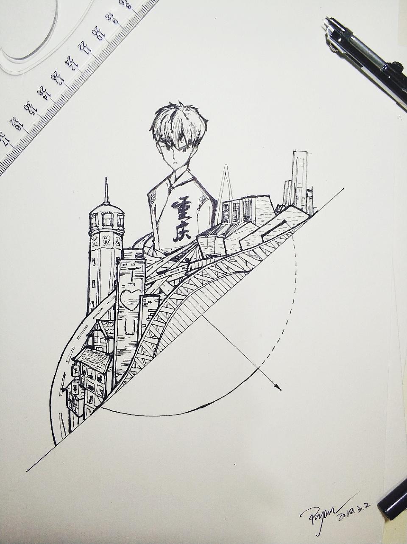 手绘插画练习,重庆