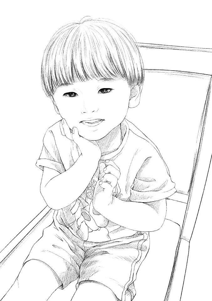 黑铅写实风手绘头像|动漫|肖像漫画|暖心尼姑 - 原创