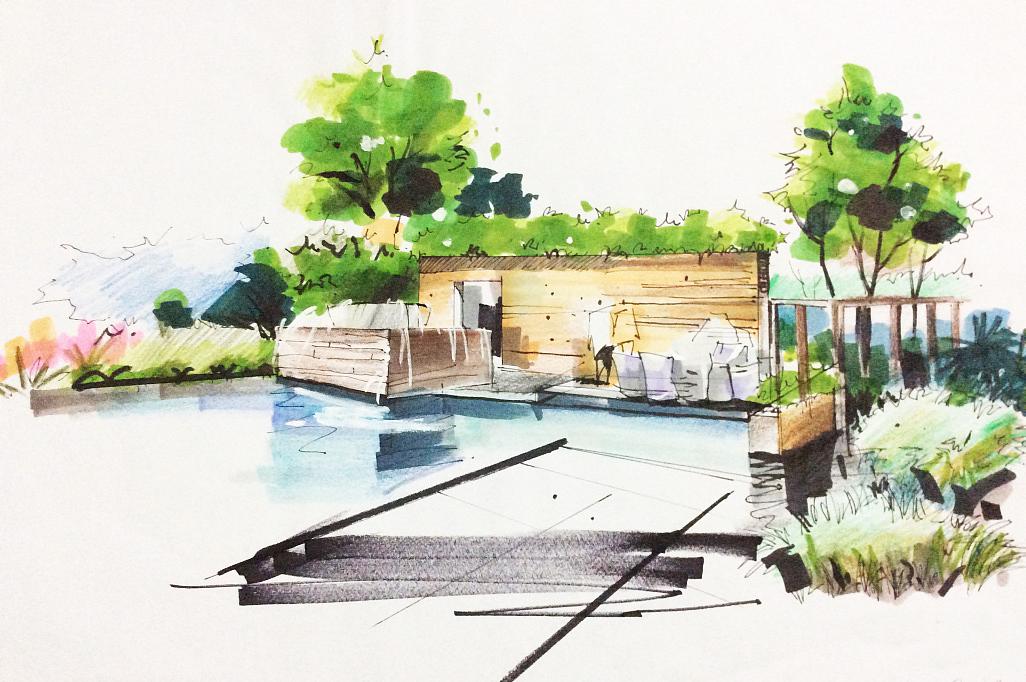 马克笔手绘|空间|景观设计|小辛酱 - 原创作品 - 站酷