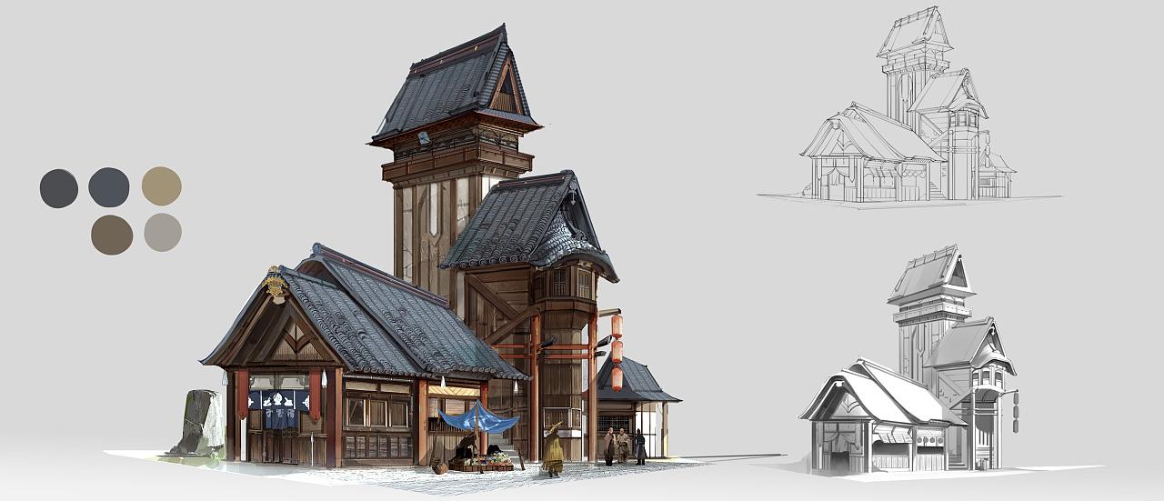 场景概念单体建筑设计图片