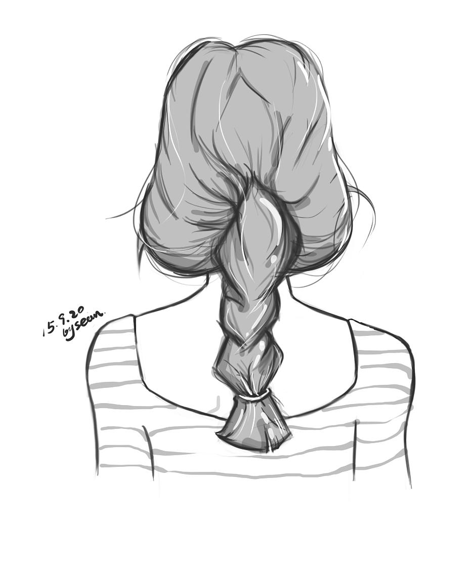 女生背影手绘