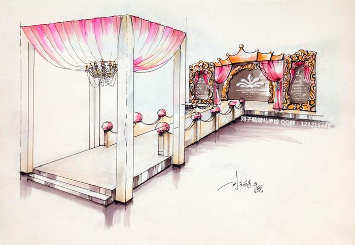 婚礼手绘效果图|舞台美术|空间/建筑|359502826