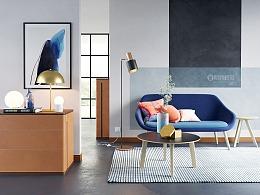 鸿运国际娱乐开户彩金_Blue sofa rendering