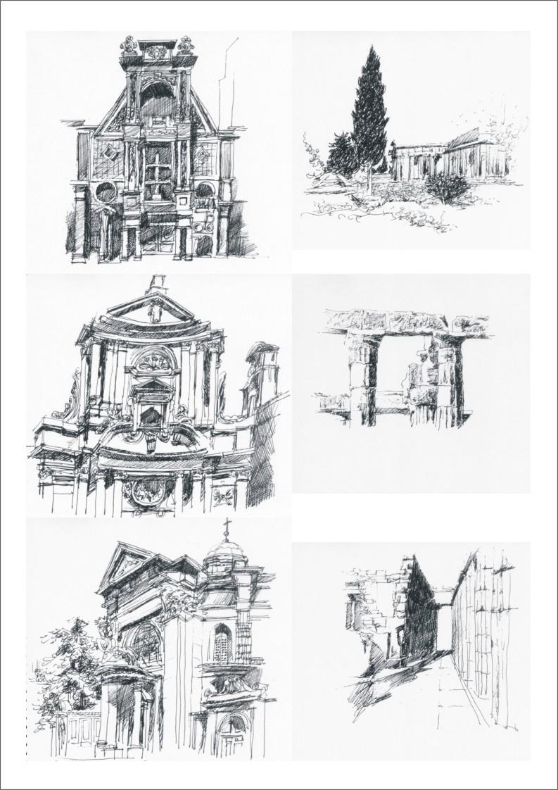 古典建筑钢笔画|商业插画|插画|百超设计