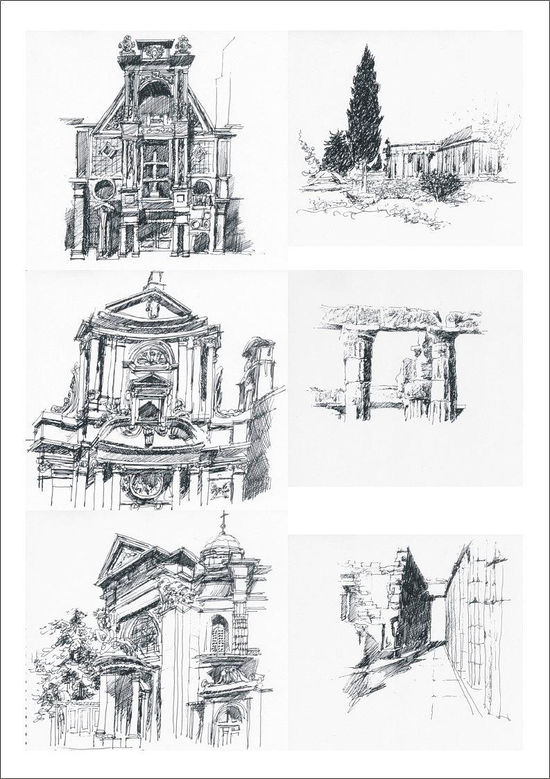 古典建筑钢笔画