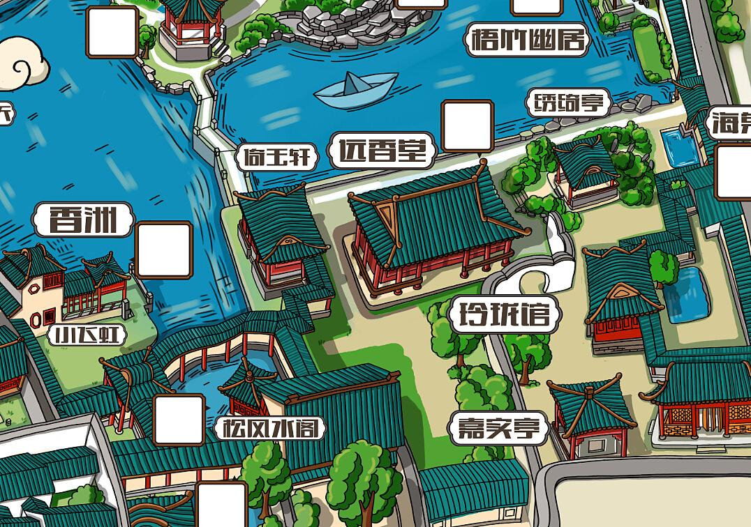 拙政园手绘地图 旅游手绘地图 地图绘画 卡通人物地图