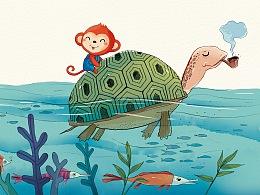 小红猴儿童插画