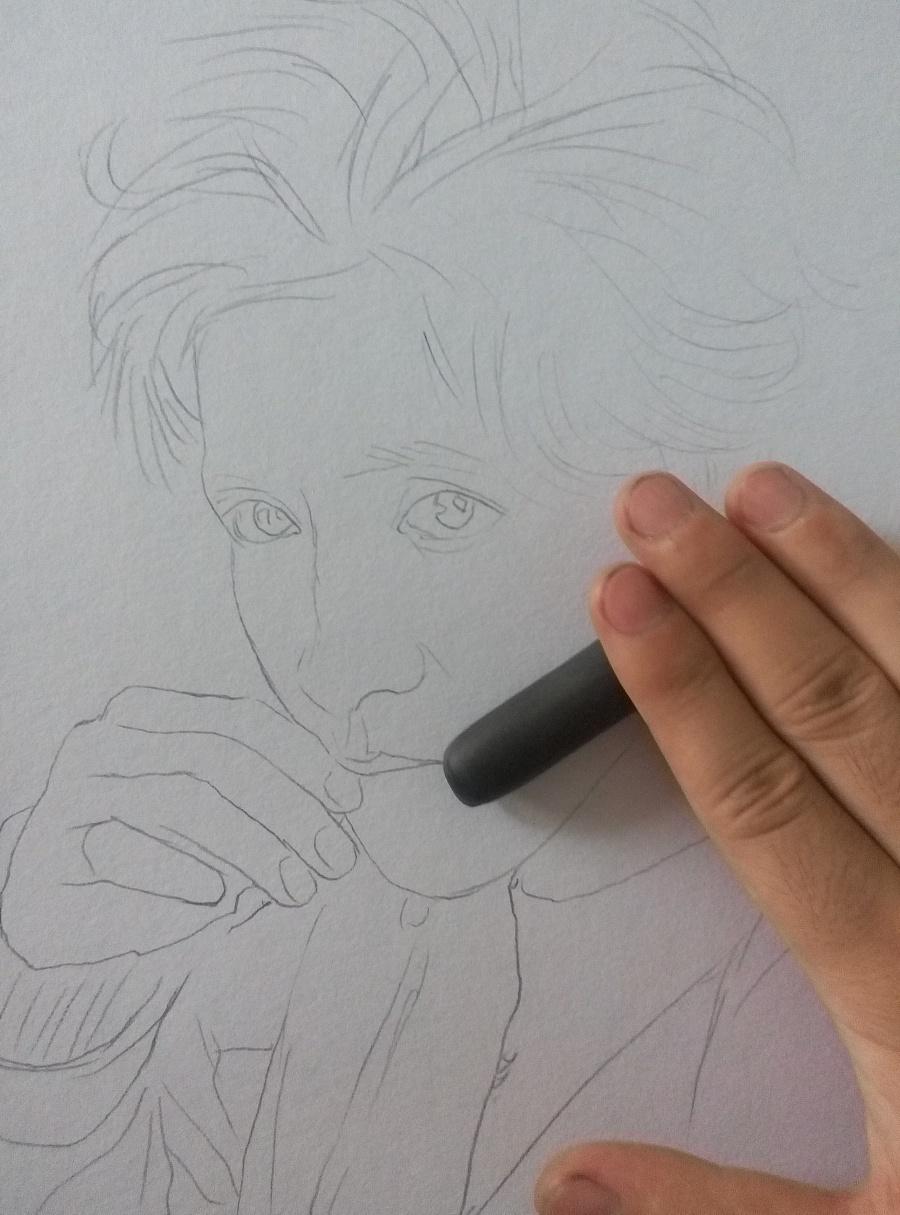 手绘薛之谦彩铅肖像|彩铅|纯艺术|曙光的画