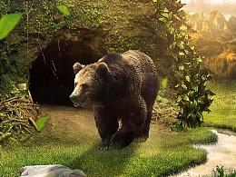 饥饿的熊场景合成