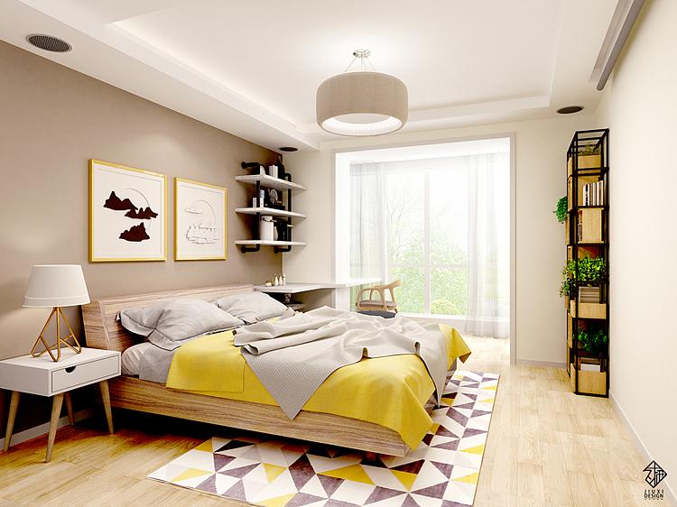 同时也为卧室增加了一个衣帽间区域.图片