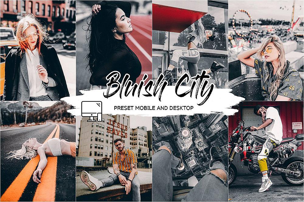 【P196】 蓝调黑金风格城市街拍LR预设+LUT预设BLUISH CITY LIGHTROOM PRESET+LUT