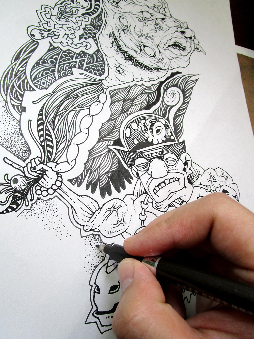 水彩笔手绘加油海报
