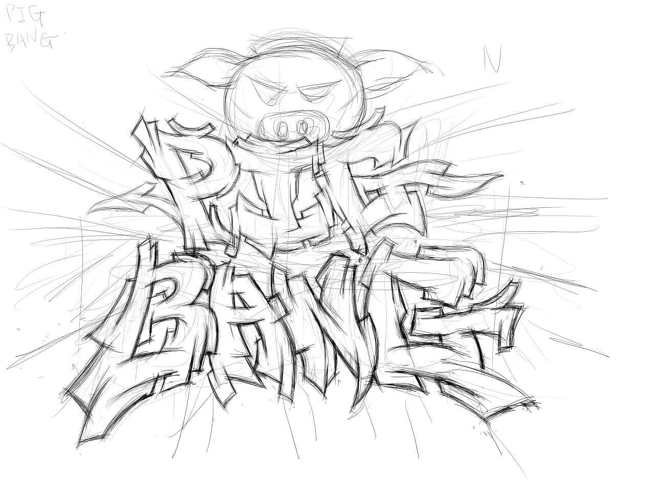 近期几幅黑白涂鸦字体插画