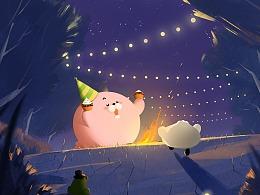 比心海豹部分插画-生活的小美好