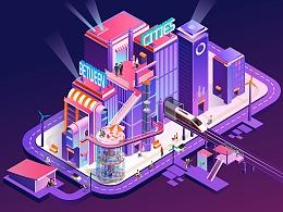 原创2.5D城市插画