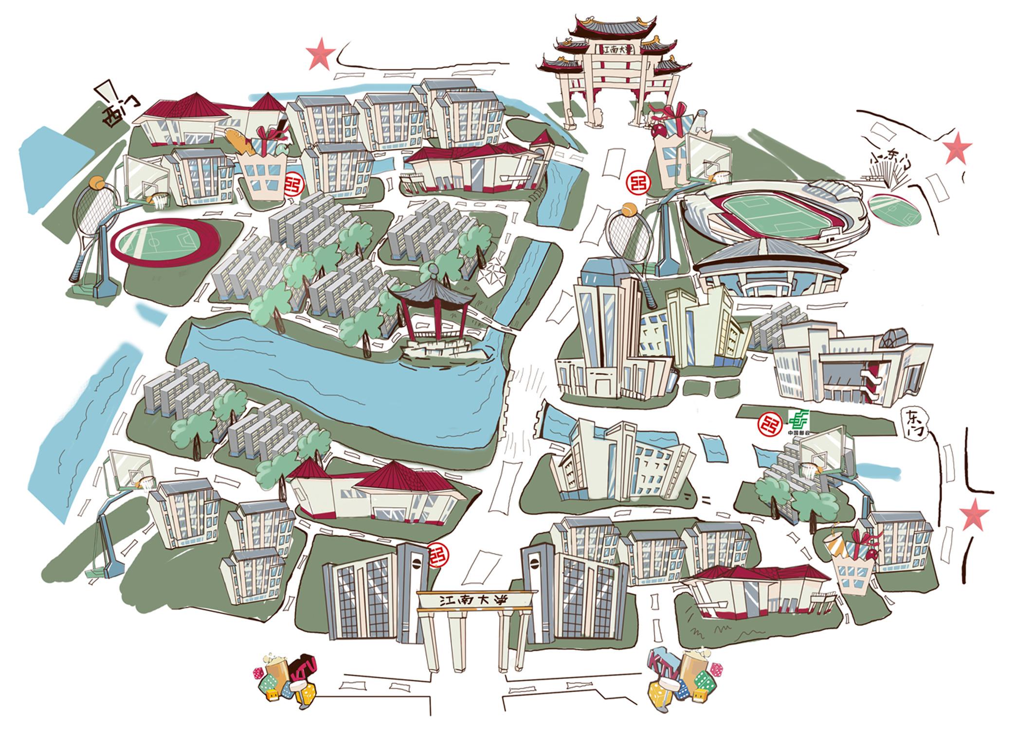 江南大学手绘地图