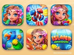 手游Island Adventure 界面与图标设计 (多张)
