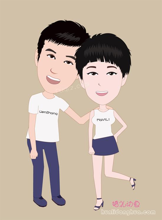 婚礼开场漫画婚礼简笔画q版新郎新娘卡通形象设计新人爱情故事动画