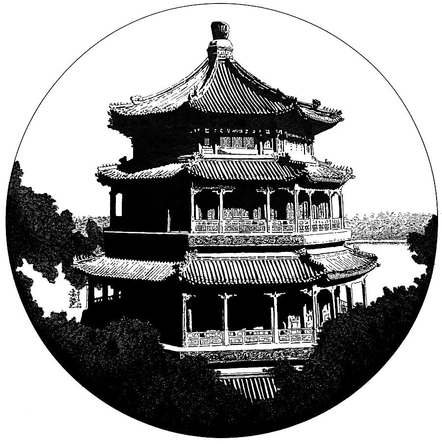 钢笔画古建筑-古建筑的黑白艺术