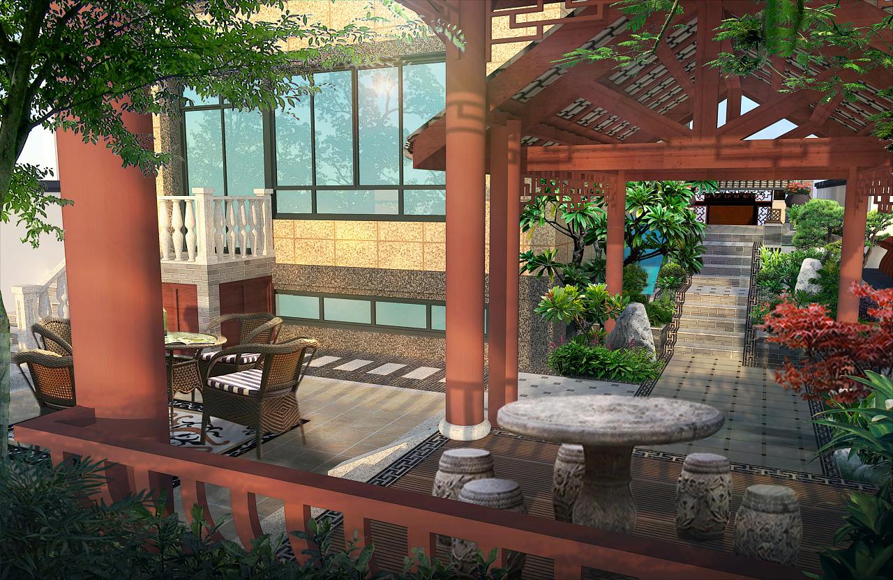 中式风格庭院 空间 建筑设计 张柳玲 - 原创作品