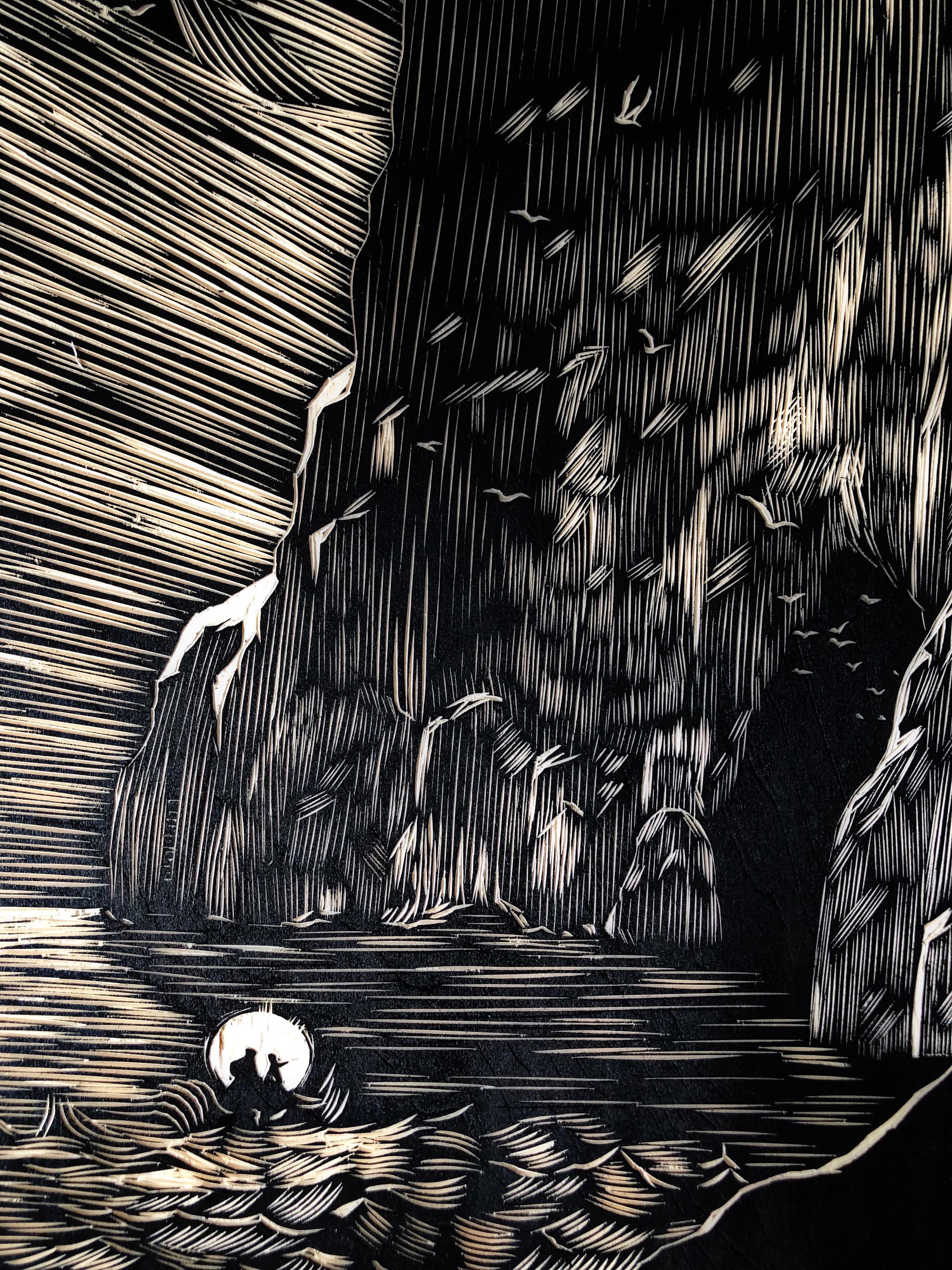 手工雕刻黑白木版画《探险》