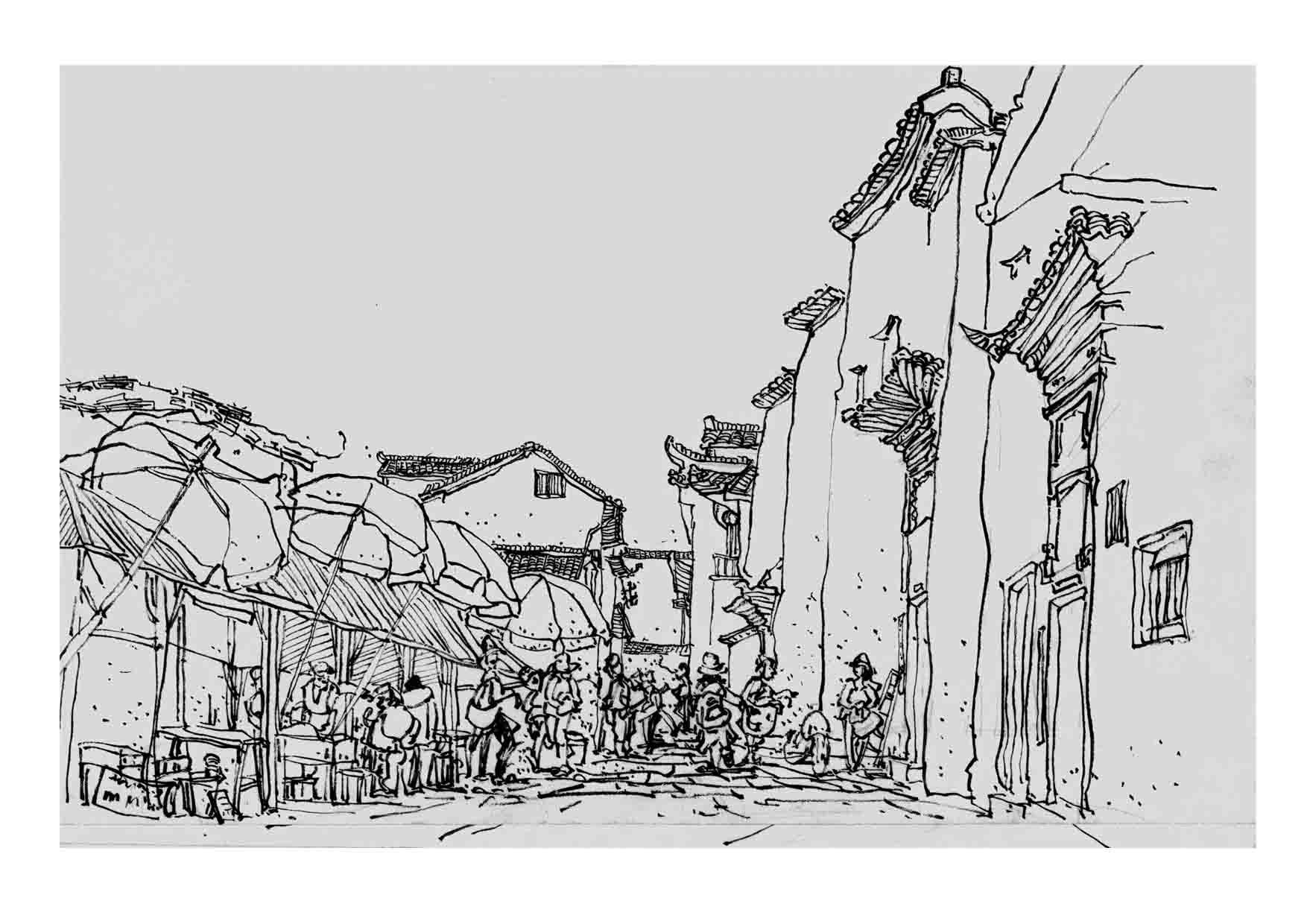 速写 宏村 西递 2008年黄山写生作品图片