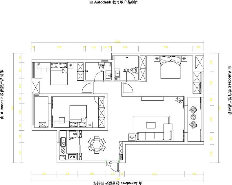郑州升龙城三室两厅135平美式乡村风格装修效果图