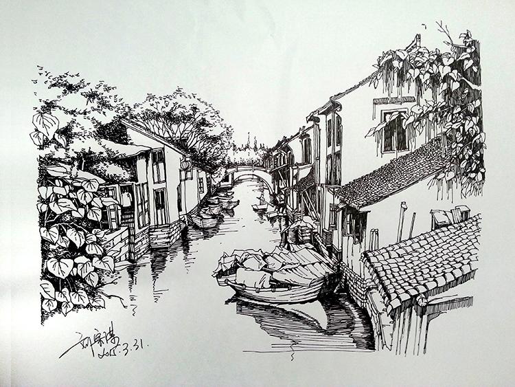 乌镇水巷一角 速写 纯艺术 清风zm图片