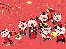 猪年春节系列成语,壁纸,全家福
