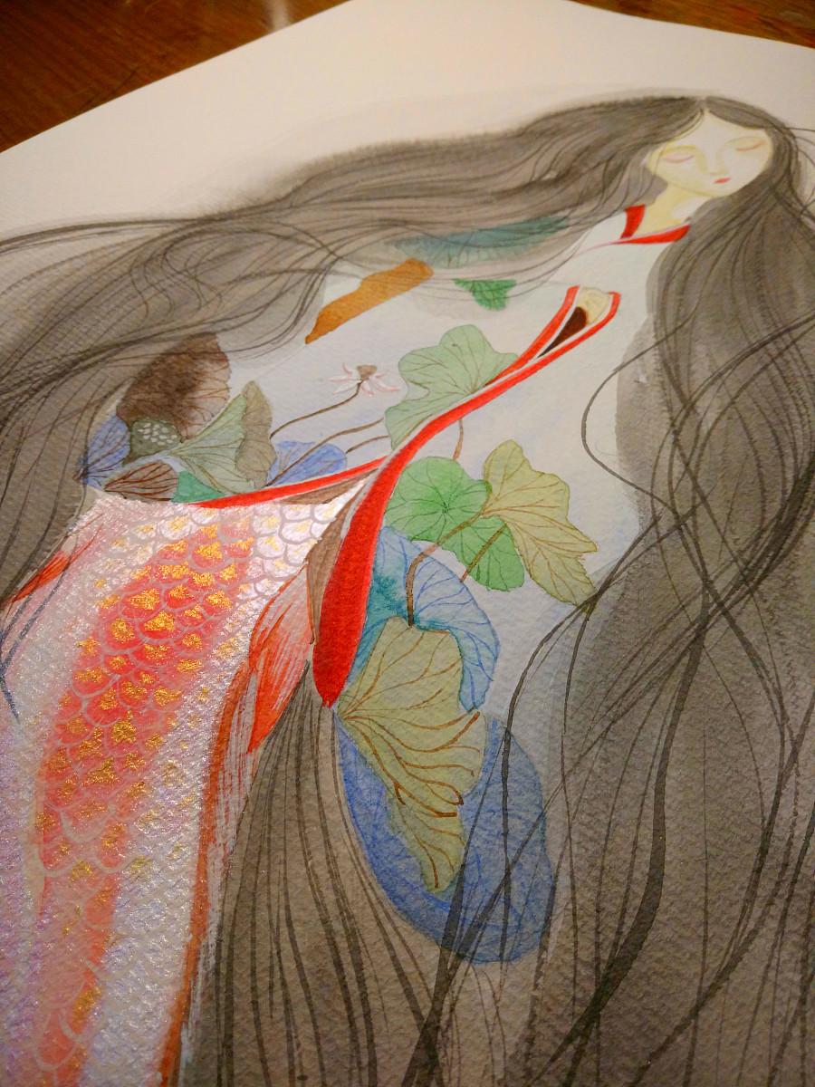 原创作品:人鱼 手绘 水彩
