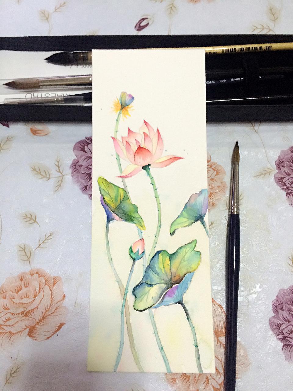 水彩手绘书签一套四张