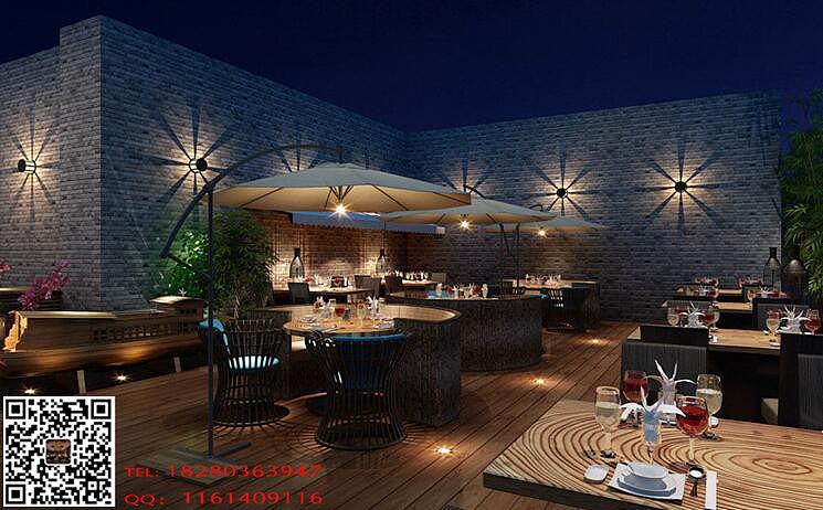 贵阳花园餐厅装修设计-屋顶花园餐厅设计效果图