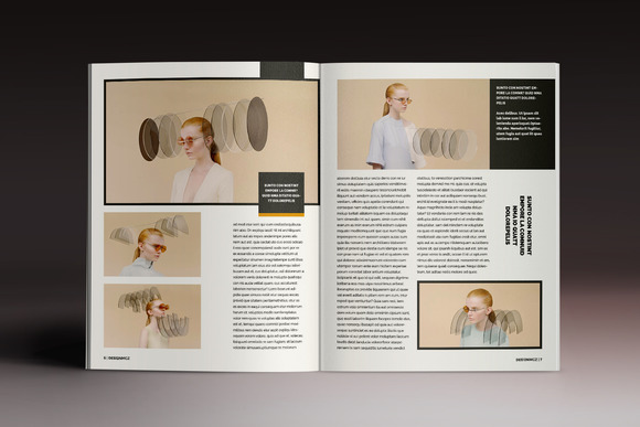 時尚流行畫冊雜志排版indesign模板模特人物展示indd|圖片