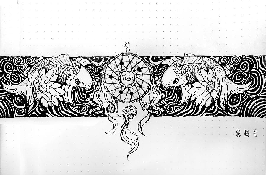 """纹身手稿""""梦"""" 花臂"""