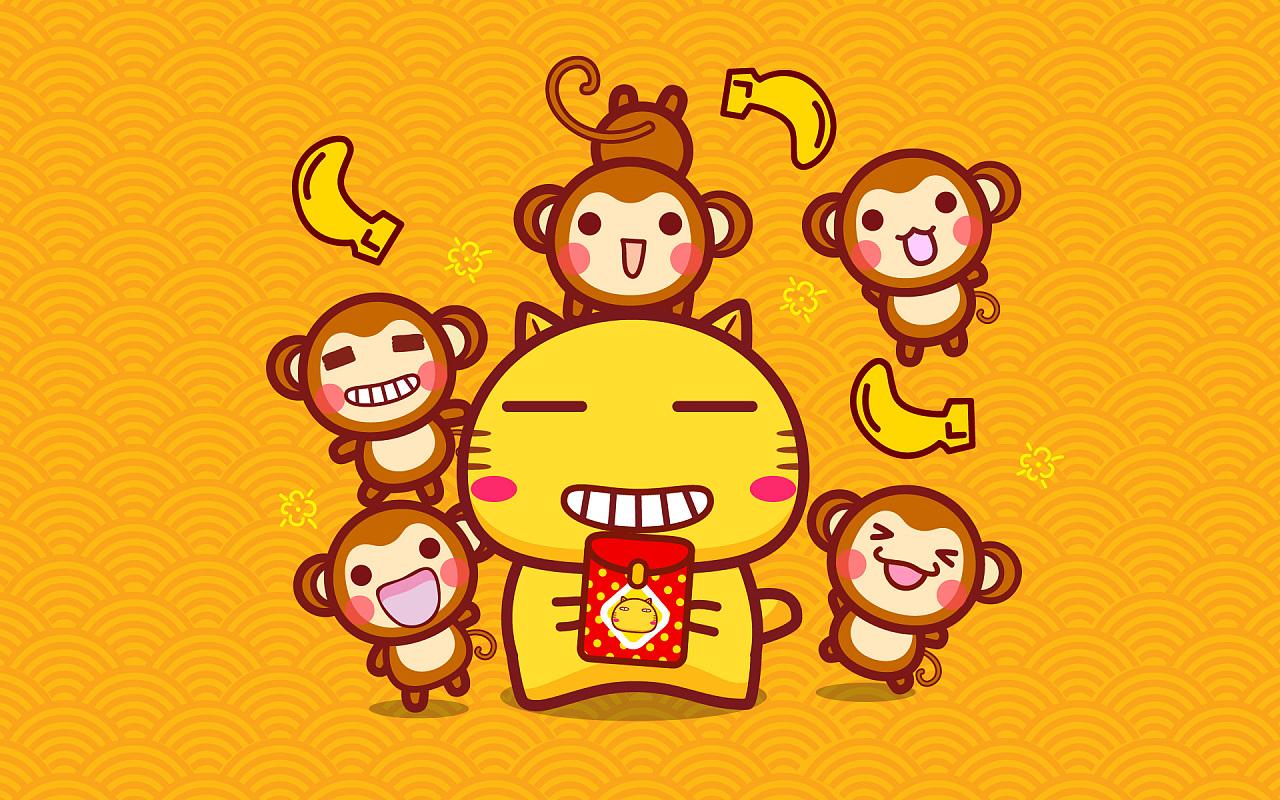 哈咪猫猴年春节壁纸图片