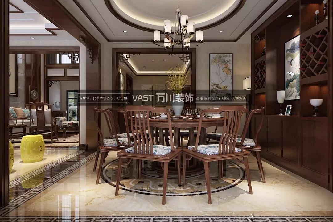 贵阳中航城风格278平米中式别墅装修设计效果图万科海右府别墅图片