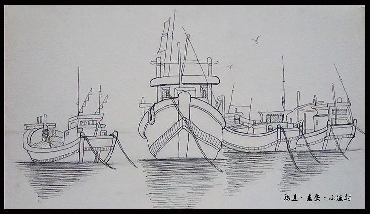岸边景观手绘线稿