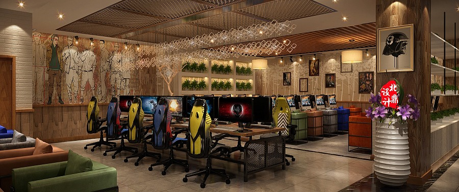 沈阳网吧装修网咖装修效果图|室内设计|空间|重庆网咖