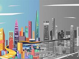 深圳城市建筑插画