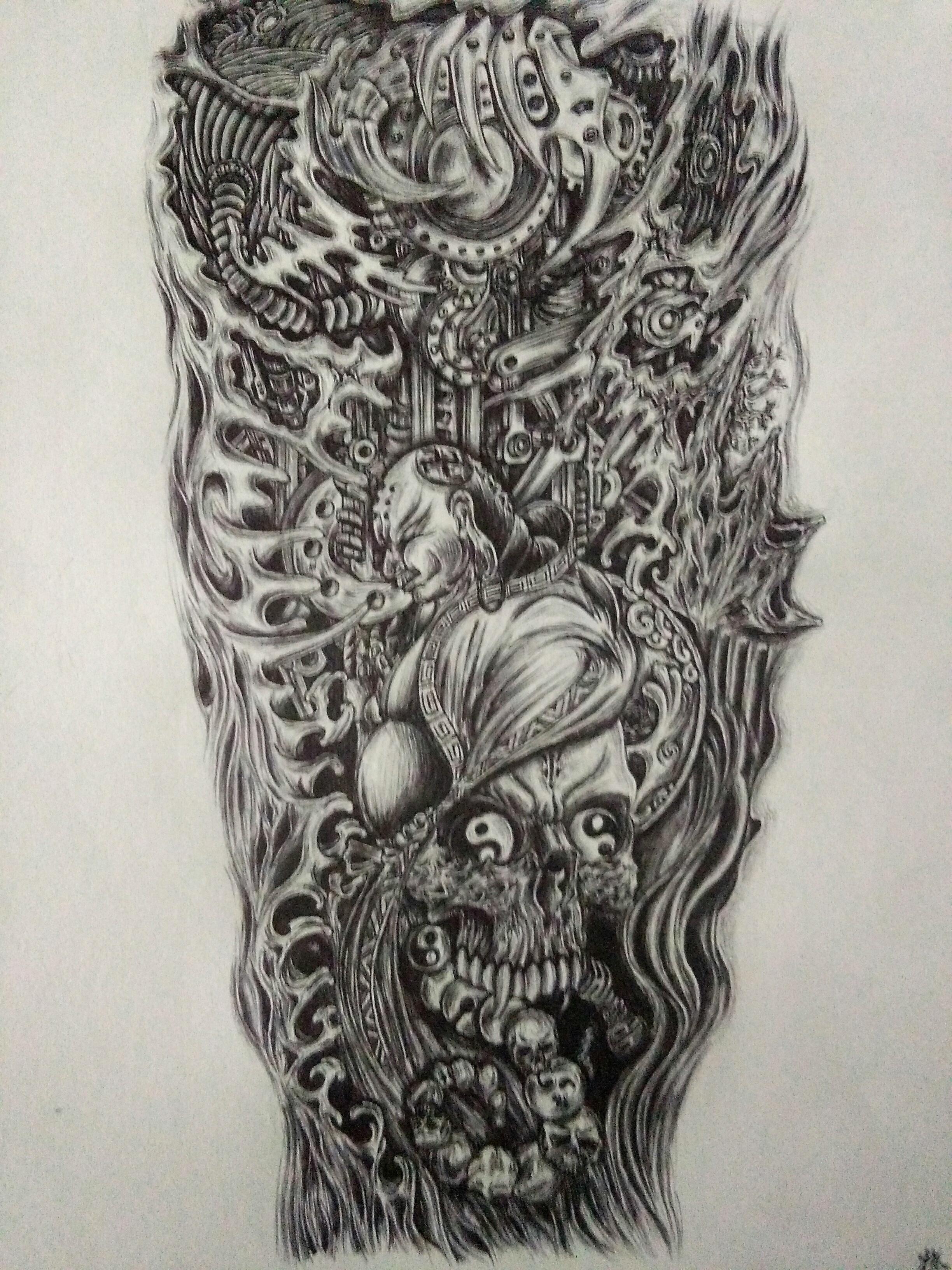 花臂紋身手稿原創手繪圖片